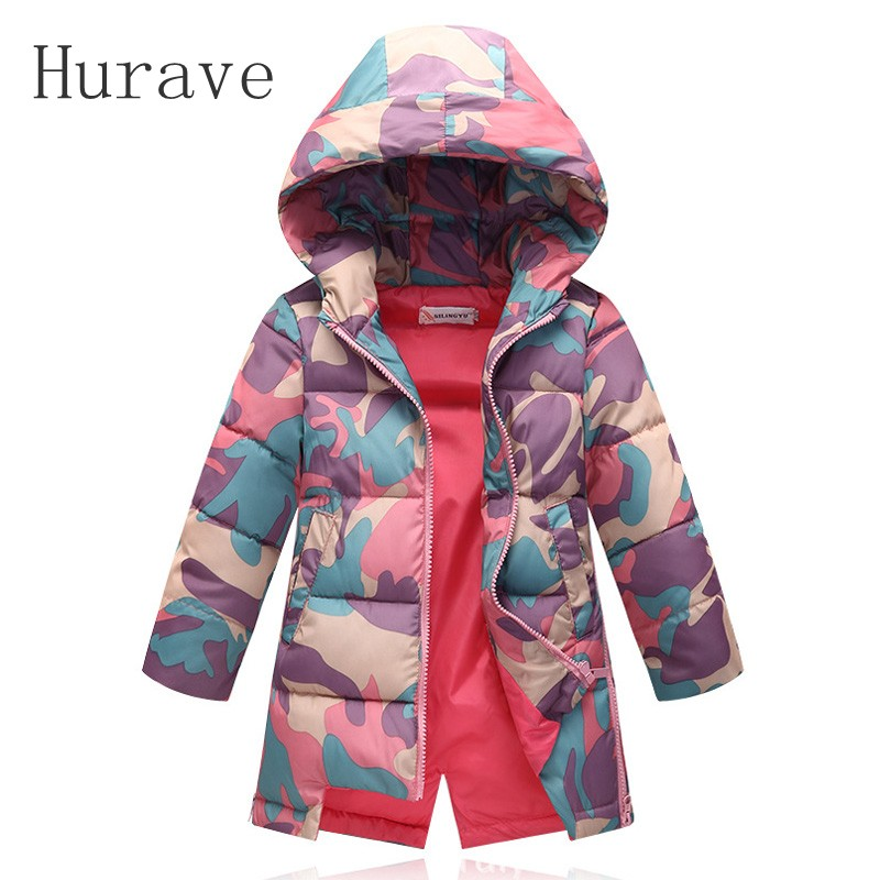 Hurave 2017 New winter hooded coat fashion children girls long cotton camouflage jacket girl warm top