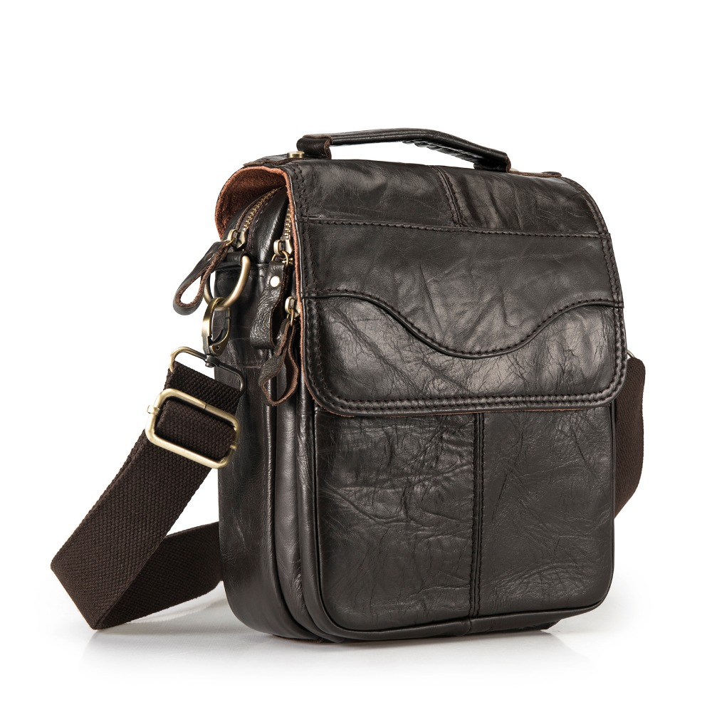 le'aokuu Leather Male Casual Shoulder Messenger bag Cowhide