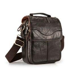 Qualidade de couro original masculino casual ombro messenger bag moda cruz-corpo saco 8