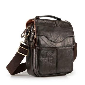 Quality Original Leather Male Casual Shoulder Messenger bag Cowhide Fashion Cross-body Bag 8 Pad Tote Mochila Satchel bag 144 Сумка