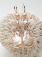 Free shipping Orange Pink Real Freshwater Pearl Earrings