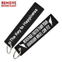 Fashion Key Tag Bijoux Keychain for Motorcycles The Key to Happiness Key Fobs Key Ring Chaveiro Remove Before Flight Brand Tag