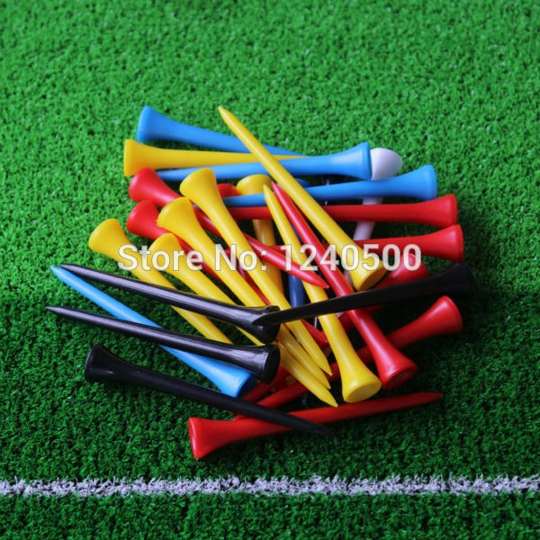 Free Shipping 50Pcs/lot 83 mm Mixed Color Plastic Golf Tees Wholesale