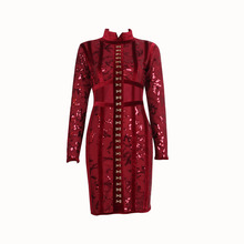 2017 Spring Luxury Wine Red Sequin Long Sleeve Dress Mesh Fashion Velvet Women Bodycon Formal Cocktail Party Dress
