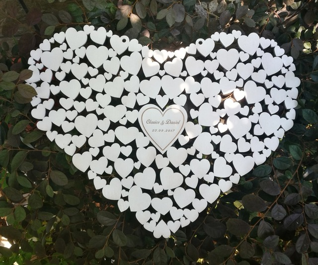 Customs Personalised Heart Shaped Wedding Guestbook Alternative Hanging Guest Book Hearts Decorations