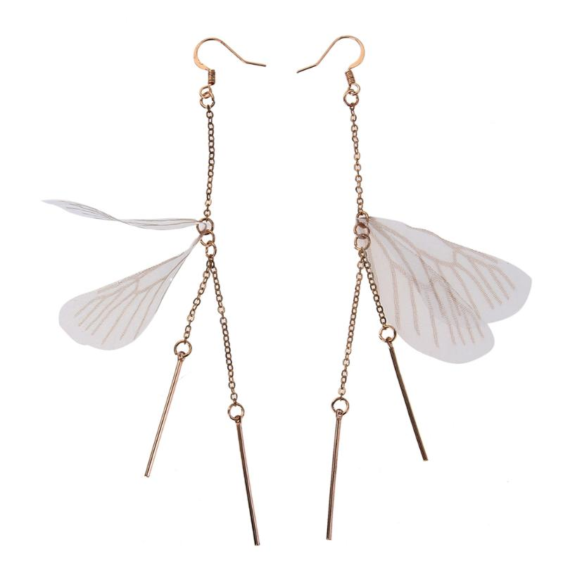 Fairy Butterfly Wings Drop Earrings Long Feather Tassel Earrings For Women Fashion Handmade Jewelry Design Pendientes Gift