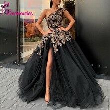 Long Evening Dresses 2019 One Shoulder  Elegant High Quality Sexy Slit Saudi Arabia Black Formal Gown Robe De Soiree