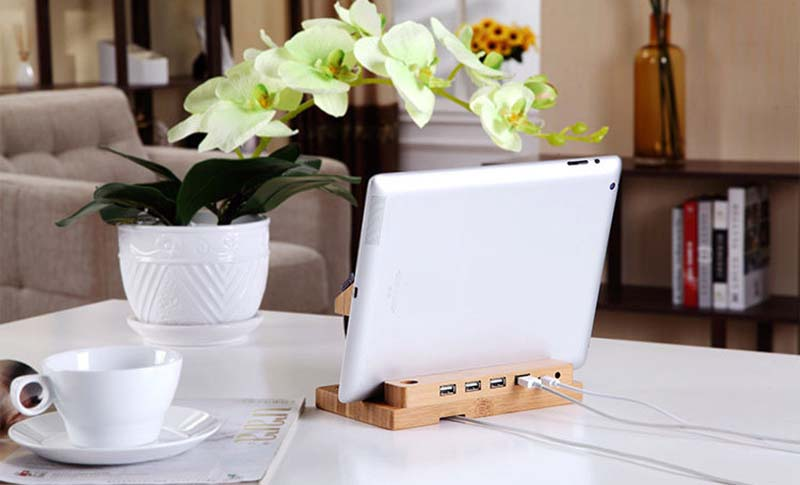 Multifunctional Bamboo USB Charging Dock/Holder for Apple Watch iPhone iPad 17
