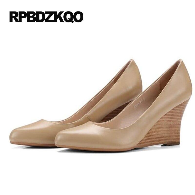 Größe 4 34 Damen Formale Schuhe High Heels Kleine Herbst Nude Pumps Keil Büro Spitz 2017 Echtem Leder Gericht echt - 2