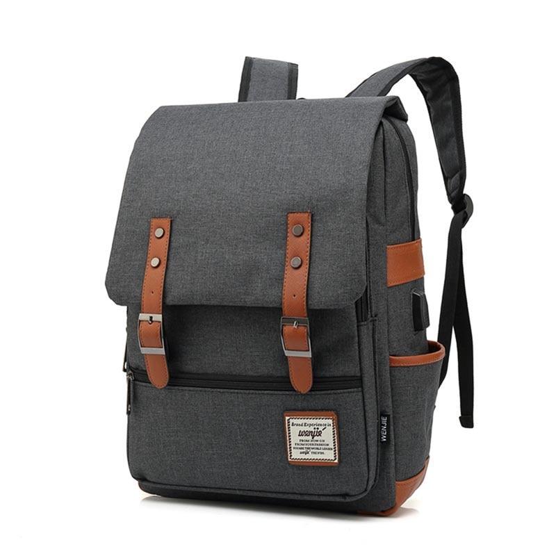 Laptop USB Charging Casual Canvas Women Backpack Large Capacity Female  Backpacks Brand Zipper Travel Bag Girl 666cb91e8f8b6