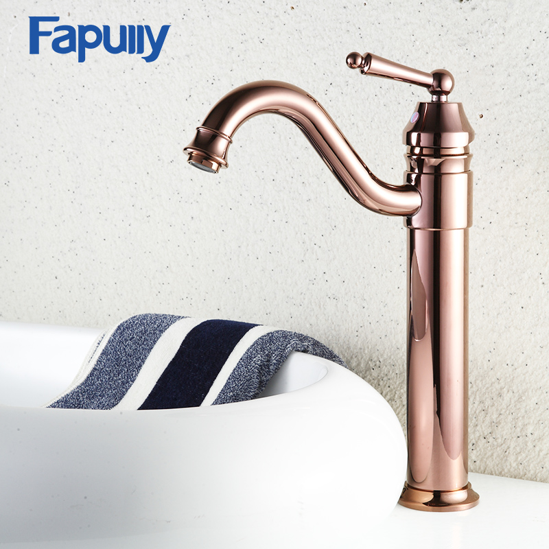 Fapully Rose Gold Bathroom Basin Faucet Deck Mounted Gold Mixer Taps Hot And Cold Tall Bathroom Sink Faucet deck mounted bathroom tall sink faucet cold