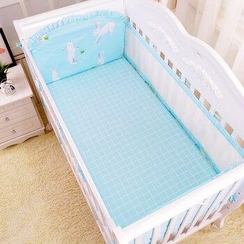 Mignon lapin bleu motif respirant bébé literie ensemble pour été bébé berceau literie ensemble avec Net pare-chocs 6 pièces articles de lit infantile