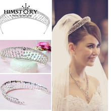 Clear Crystal  Wedding Bridal Tiara Crowns Princess Queen Pageant Prom Rhinestone Veil Hair Accessory