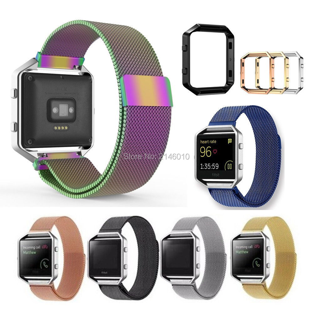 Magnetic Closure Milanese Loop Strap Wrist Watch Bands + Frame For Fitbit Blaze fitbit watch