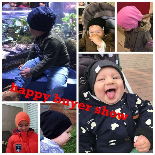 9d038f0ca9bb Solid Baby Winter Hat Bonnet Enfant Kids Baby Boy Girl Infant Cotton ...