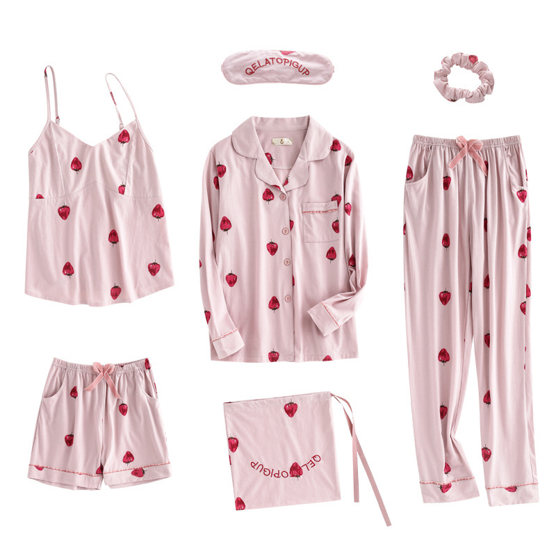 71ebfac22bfa UNLIMON 7Pcs Cotton Pajamas For Women Pajamas Cute Sleepwear Sets  Comfortable Full Sets Pjs Pink Strawberry Girls Pyjama Sets