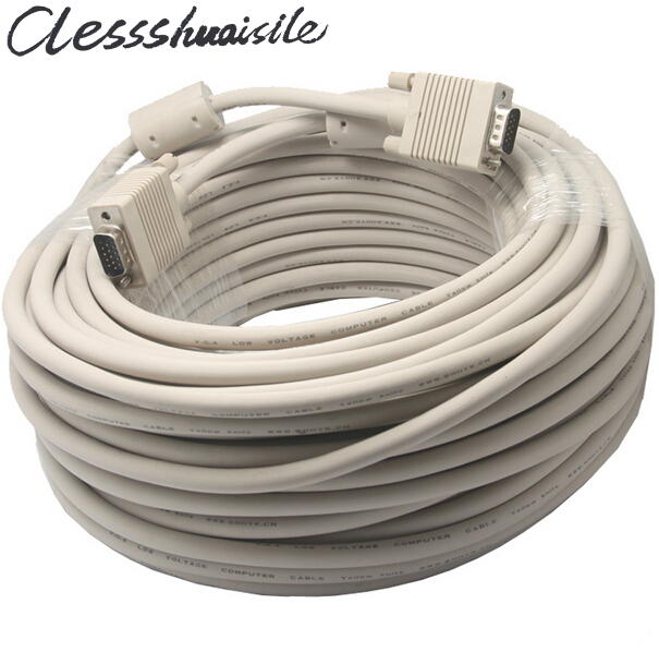 цена на VGA to VGA Cable 15 pin with Double Magnets Ring VGA 3+6 D-SUB Extension Cabo Male to Male 1.5m/1.8m/3m/5m/10m/15m/20m/25m/30m