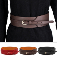 New Women Fashion Stretch Wide Leather Waist Belt Lady Pin Buckle Elastic Waistband Red Black Brown