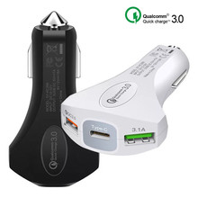3.0 USB Car Charger Safety Hammer For Mobile Phone Tablet GPS Fast Car-Charger Dual Adapter in