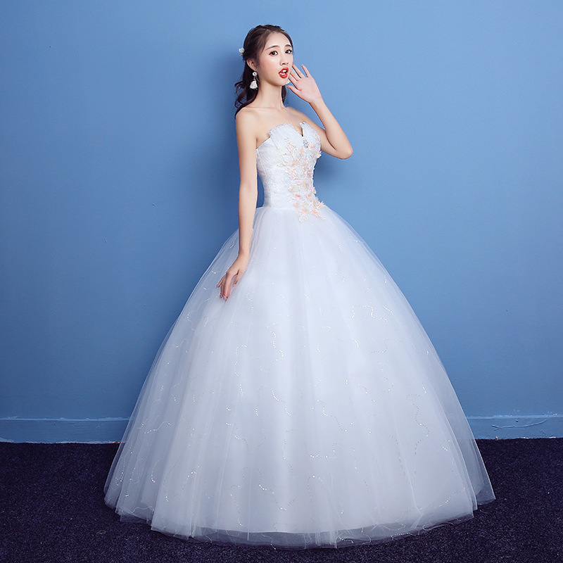 US $36.67 10% OFF LYG H01#spring summer new lace up Bridal wedding Dresses  plus size long dress Embroidered Lace on Net Custom cheap wholesale-in ...