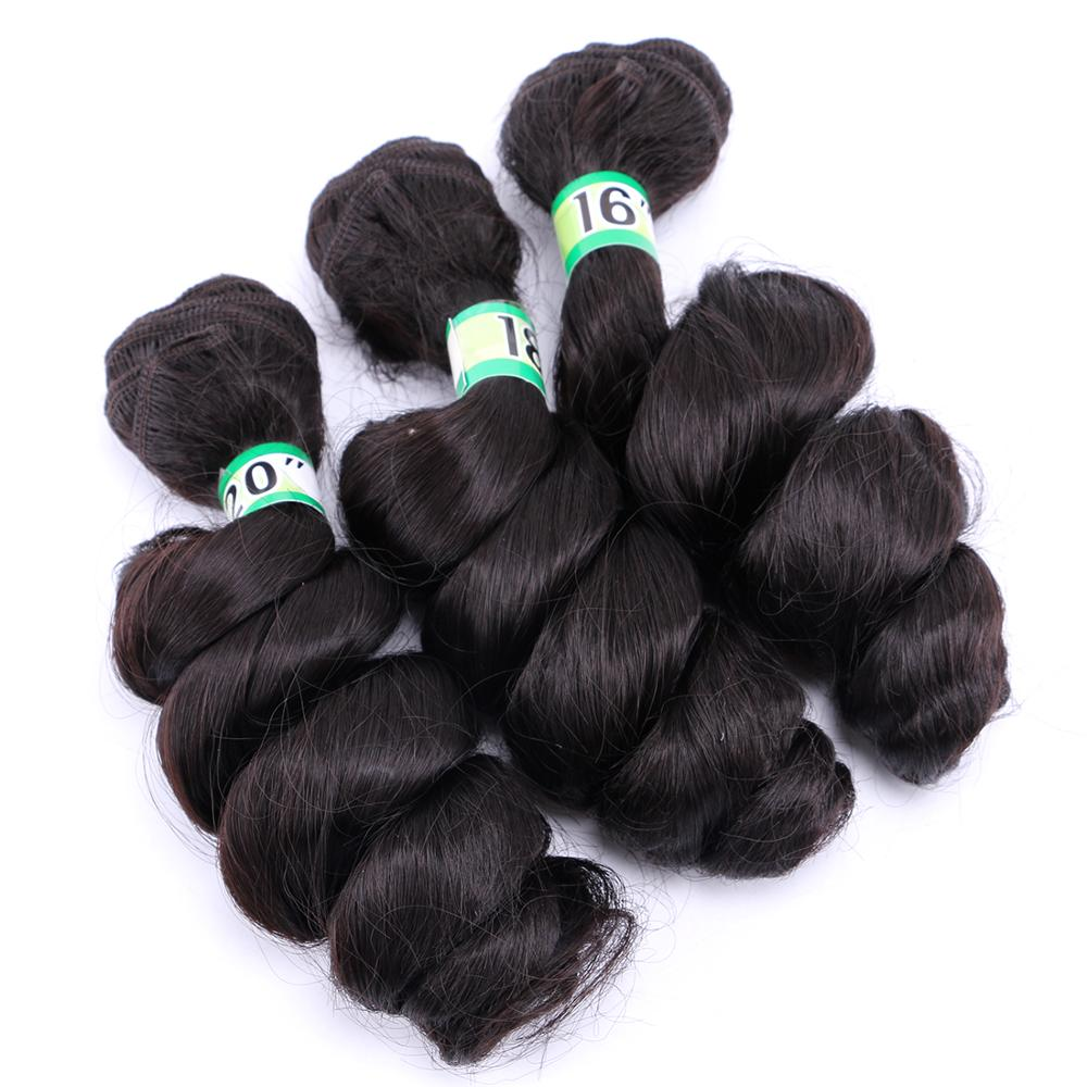 Natural black loose wave bundle 70 gram one piece heat resistant synthetic hair extension for women(China)