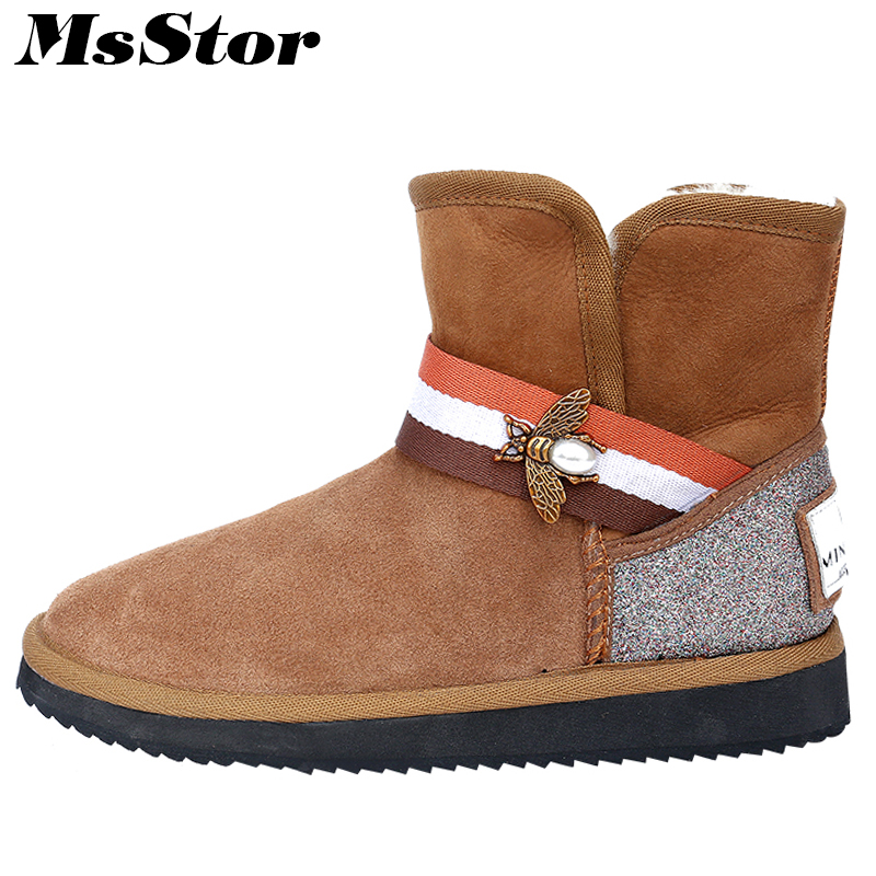 MsStor Women Snow Boots Keep Warm Ankle Boots For Woman Winter Shoes Metal Decoration Platform Wool Cotton Boots Shoes For Girl цены онлайн