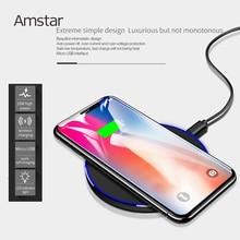 Amstar 10 W Qi Kablosuz Şarj Cihazı Hızlı Kablosuz Cep Telefonu USB iphone şarj cihazı X XS XR 8 Samsung S8 S9 Not 9 USB şarj aleti Pad