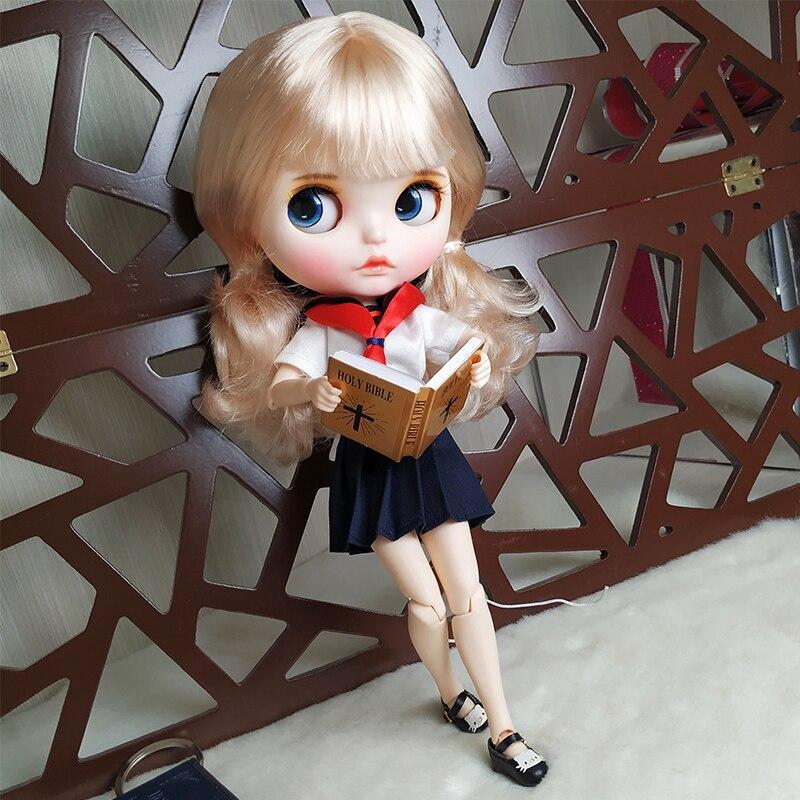 ICY fabryka blyth doll 1/6 bjd biała skóra wspólne ciało blady blond złote włosy nowy matowy twarz rzeźbione usta z brwi zamknięte oczy w Lalki od Zabawki i hobby na  Grupa 1
