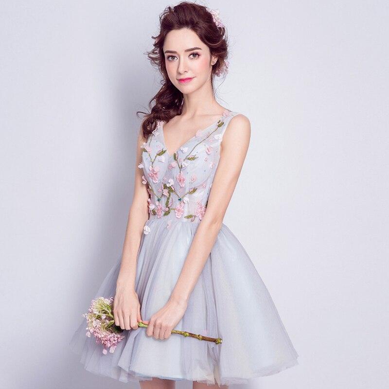 Robe De soirée Courte Sexy Robe De soirée Courte en Tulle col en V fleurs 3D Formall Robe De bal Tutu jolie Robe De soirée élégante