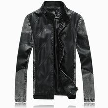 Fall 2016 new men leather jacket Fashion cowboy splicing pu leather coat of cultivate one's morality