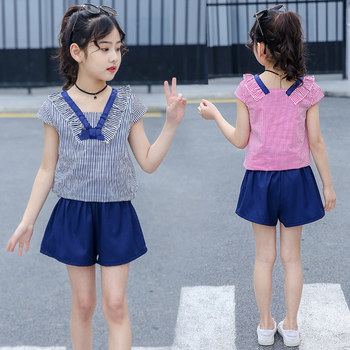 Cool Summer Cute Teen Girl Clothes Set Shorts+V neck Tops for Kids Clothes Set for Girls Striped Clothing Set 2Pcs 4-12 Years