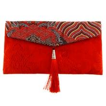 Китайский узел, монета, традиционная свадьба, год, красный конверт для денег, Сумка с кисточкой, ткань, вышивка, пакет, подарок, вечерние сумочки
