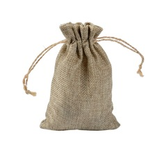 10x14cm Mini Pouch Jute Bag Linen Hemp Small Drawstring Bags Ring Necklace Jewelry Pouches Wedding Gift Packaging