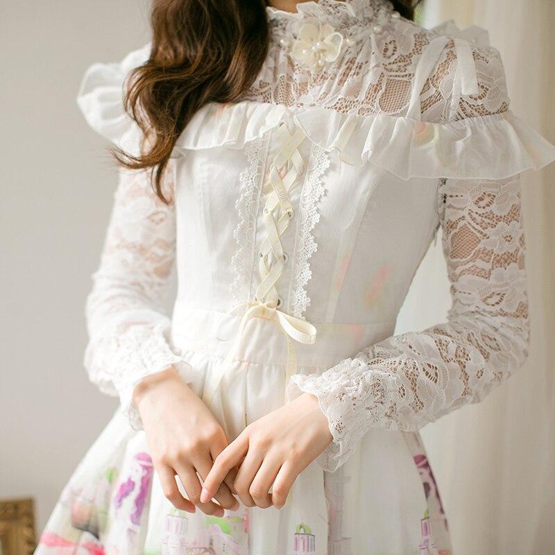 Lange C22ab7041 Kleid Frühjahr Süße Und White Neue Chiffon Ärmeln Candy Japanische Sommer Prinzessin Lolita Regen YDIe29WEH