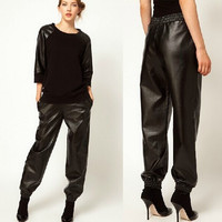 Women Elastic Waist Loose Pu Leather Pants Women Streetwear Casual Faux Leather Pants Casual Palazzo Trousers Pantalon Femme