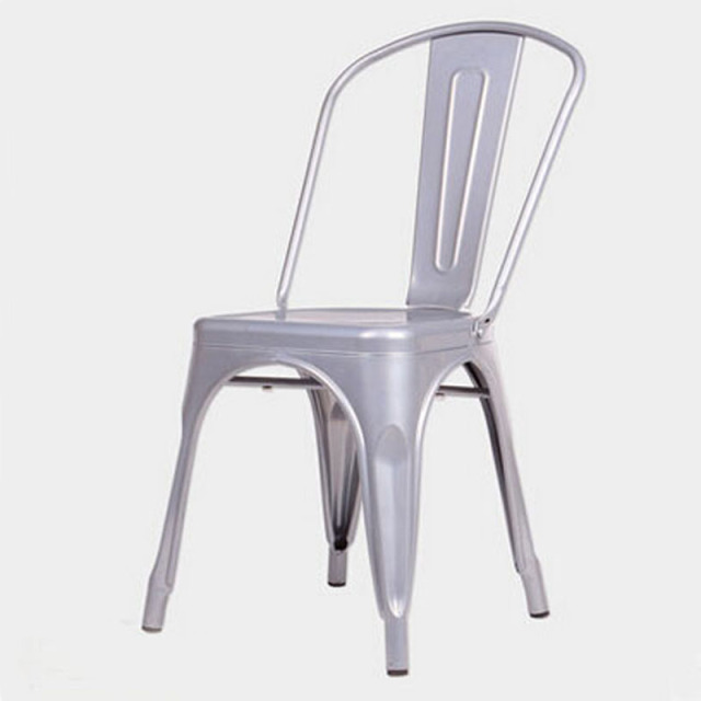 Free Shipping Metal Silver Grey  Side Chair