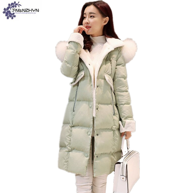 TNLNZHYN Women's clothing new New Winter Big yards Women Jacket Coat Hooded fur collar Cotton thicken long Female Outerwear Wu03 women winter coat leisure big yards hooded fur collar jacket thick warm cotton parkas new style female students overcoat ok238