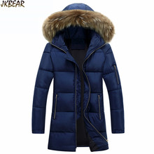 New Men's Big Faux Fur Hooded Cotton-Padded Parkas for 2016 Autumn Winter Stylish Male's Long Warm Puffer Coats Plus Size S-3XL