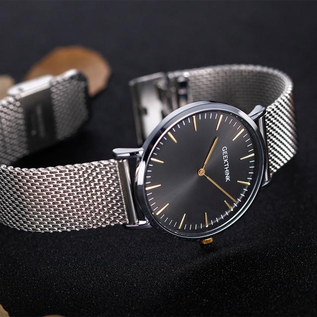 GEEKTHINK Top Luxury Brand Quartz watch men Casual Japan quartz-watch stainless steel Mesh strap ultra thin clock male New