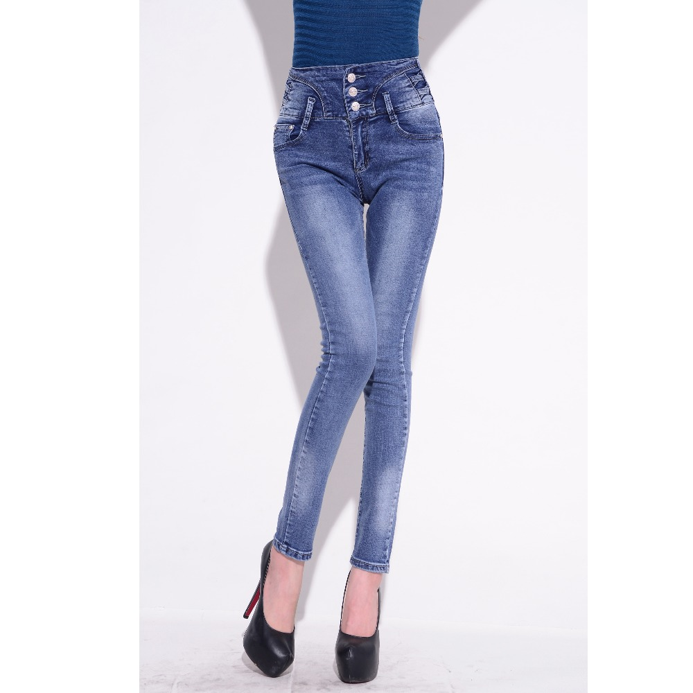 New High Waist Jeans Full Length Trousers Elastic Skinny Jeans female Pencil Pants Jeans Women Slim