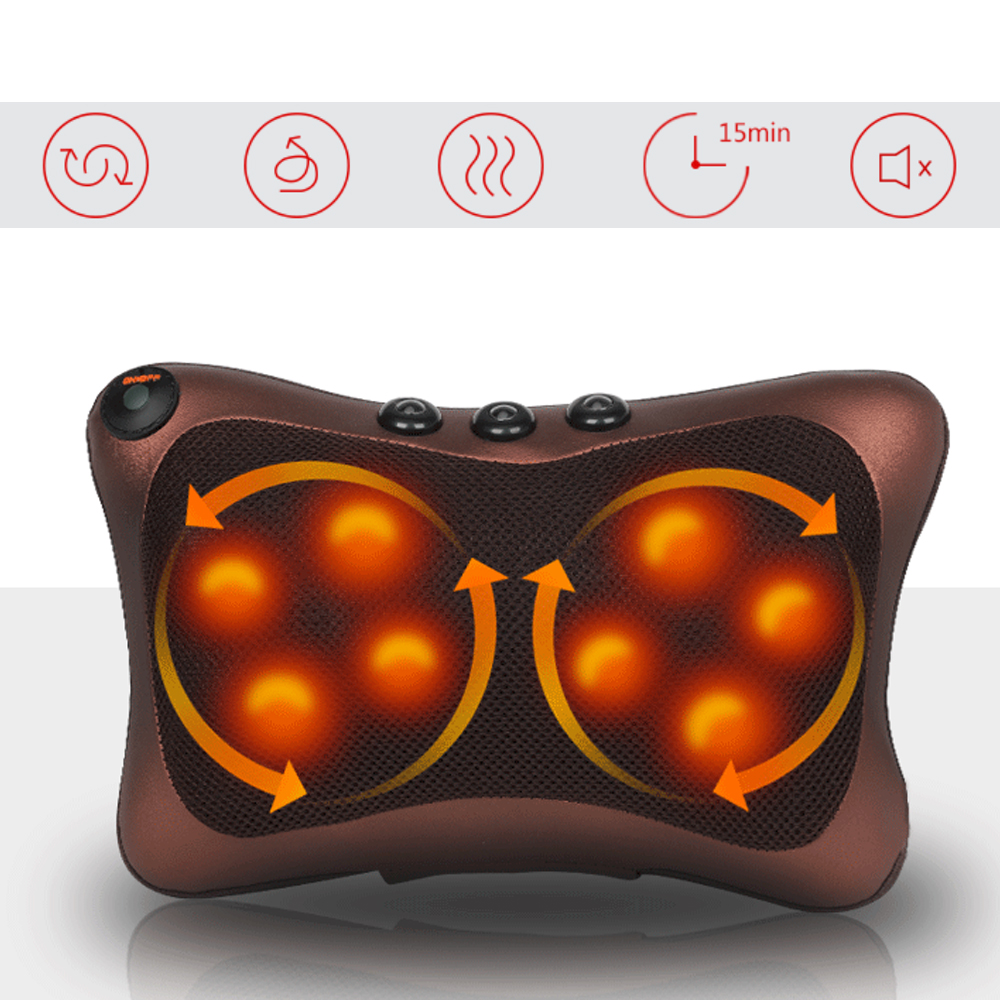 8 Rollers Massage Pillow Cushion Multifunctional Kneading Massage Pillow Cushion Pain Relief Shoulder Back Body Massager8 Rollers Massage Pillow Cushion Multifunctional Kneading Massage Pillow Cushion Pain Relief Shoulder Back Body Massager