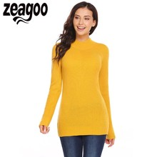 Zeagoo 2017 Autumn Winter Women Pullover Sweater Casual Turtle Neck Long Sleeve Solid Pullover Slim Warm Sweater pull femme
