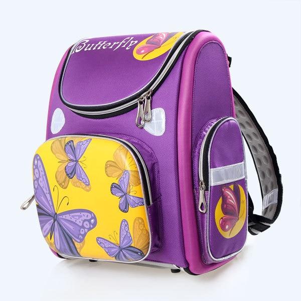2014 new Children's Orthopedic girls purple Purple Butterfly bag school bags & kids backpack 2588