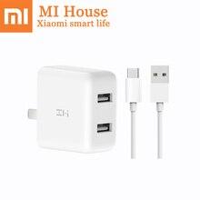 Xiaomi зми Plug Зарядное устройство QC3.0 USB двойной Порты и разъёмы Зарядное устройство комплект + 1 м Тип-C зарядный кабель Портативный адаптер линии передачи данных Mijia кабель Bacic