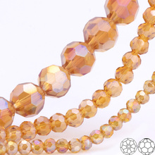 OlingArt 3/4/6/8mm Round Glass Beads Rondelle Austria 32 faceted crystal Camel color Loose bead DIY Jewelry Making
