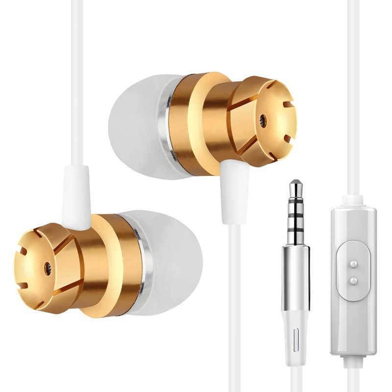 IBESI profesjonalne metalowe słuchawka douszna przewodowe słuchawki 3.5mm ciężki bas jakość dźwięku muzyka Sport zestaw słuchawkowy do iPhone'a Xiaomi
