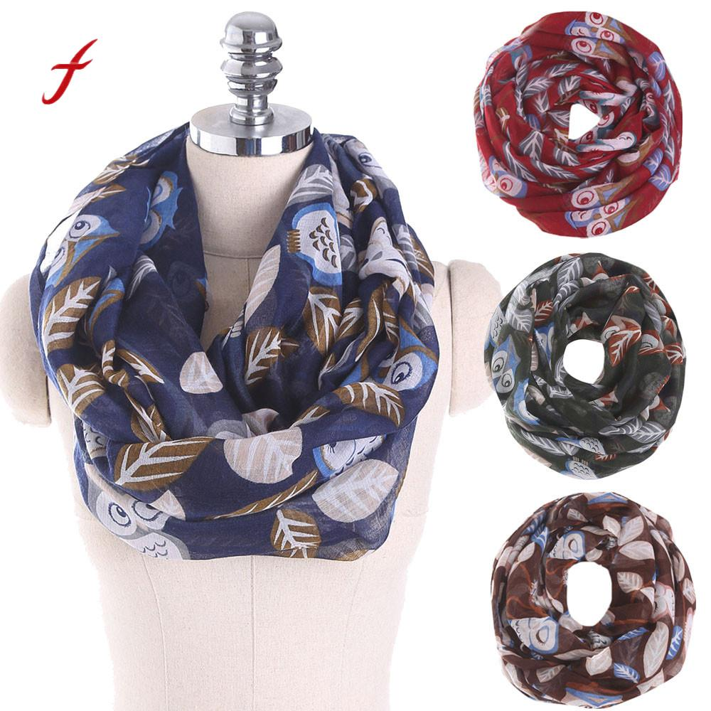 FEITONG Scarf For Women Ladies Owl Leaves Print Pattern Scarf Voile Warm Wrap Shawl New Spring Summer Elegant women Scarves 2018