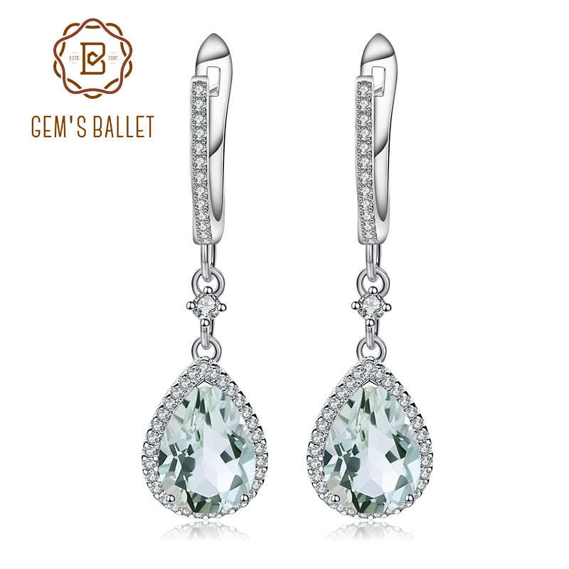 GEM S BALLET Natural Green Amethyst Prasiolite Gemstone Drop Earrings 925 Sterling Silver Earrings Fine Jewelry