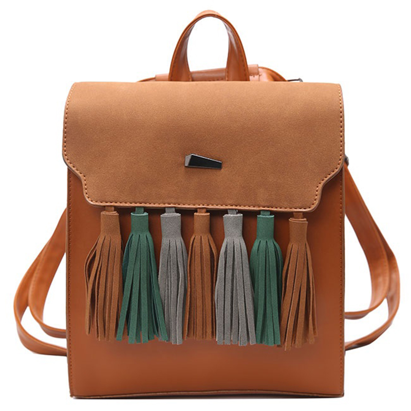 Tassel Leisure Bag Mochilas Leather Backpack Women Sac A Dos Femme Teenager Bolsa Feminina Bagpack Female Mochila De Couro Obag