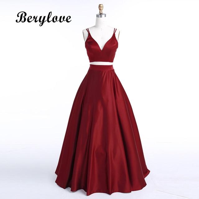 BeryLove Burgundy Two Piece Evening Dress 2019 Long Satin Evening Gowns  Simple 2 Piece Evening Dresses Prom Dresses Real Photos 89e1c49dc